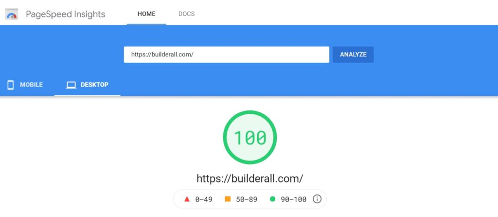 Builderall Page load speed